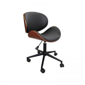 Chotto Vegan Leather Curved Wooden Office Desk Chair | Black