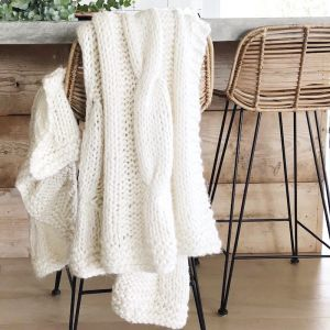 Claudette Chunky Knit Throw | Ivory | by Collective Sol