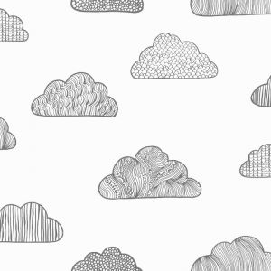 Claudia Clouds | Wallpaper for Kids | Black & White