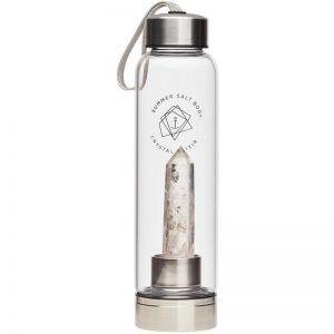 Clear Quartz Crystal Elixir   Glass Water Bottle   550ml
