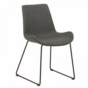 Cleo Sleigh Dining Chair | Woven Charcoal | Pre Order