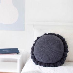 Closely Knit Soleil Pom Pom Cushion | Ink Navy