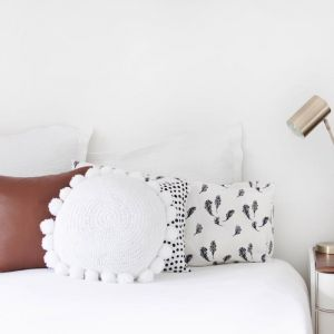Closely Knit Soleil Pom Pom Cushion | White