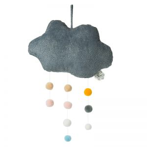 Cloud Corduroy Mobile with Pompoms   Grey