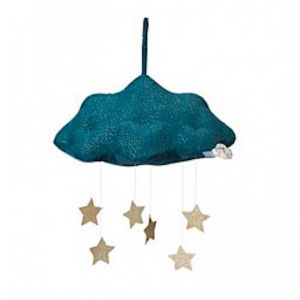 Cloud Corduroy Mobile with Stars   Blue