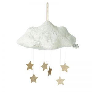 Cloud Corduroy Mobile with Stars   White