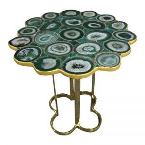 Clover Emerald Green Agate Stone End Table with Gold Metal Base