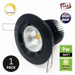 COB LED Dimmable Gimble Downlight   9W 240V 3000K 750lm   Black or White