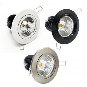 COB LED Dimmable Gimble Recessed Downlight   12W 240V 3000K 900-1000lm   Various Colours