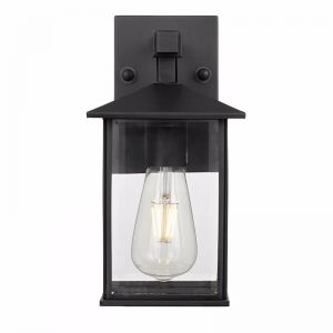 Coby Small Exterior Wall Light | Black and Clear | Hampton Lighting