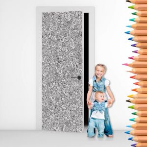Colour Me - Flowers - Colouring In Door Mural
