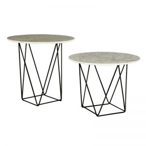 Como Marble Side Table | White Marble/Black | Large