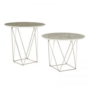 Como Marble Side Table | White Marble/Stainless | Large
