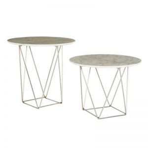 Como Marble Side Table   White Marble/Stainless   Small