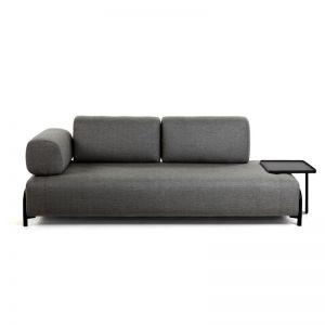 Compo Dark Grey 3 Seater Sofa with Tray