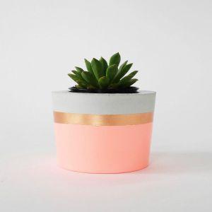 Concrete Planter | Fluro Light Peach & Copper | by Coral and Herb