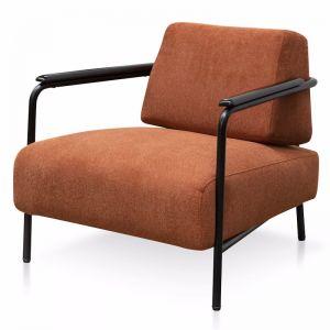 Constance Fabric Armchair - Burnt Orange - Black Legs