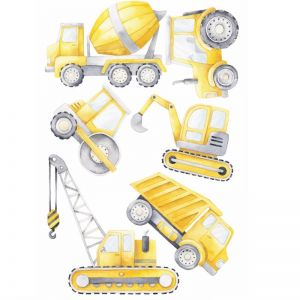 Construction Wall Decal Set   6pc