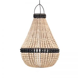 Contrast Beaded Chandelier   Natural with Black Band