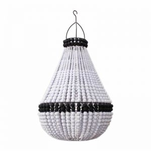 Contrast Beaded Chandelier | White with Black Band | by Raw Decor
