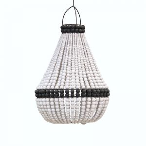Contrast Beaded Chandelier | White with Black | by Raw Decor