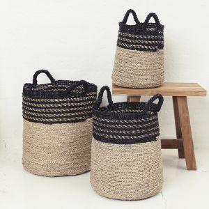 Contrast Top and Black Handle Basket