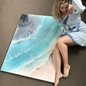 Coogee Coastal | Blue & Pink Ocean | Custom Size Artwork with Genuine Amethyst and Pearls | Antuanel