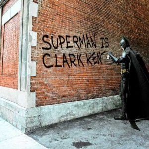 "Cool mini artwork, ""Clark Kent Graffiti"" by Daniel Picard, 30 x 40cm framed under acrylic glass"