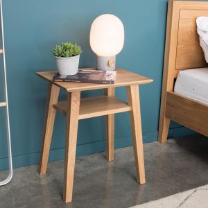 Copenhagen Solid European Oak Bedside Table w Shelf