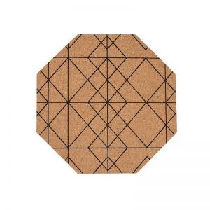 Cork Placemat Black Lines | Set of 4