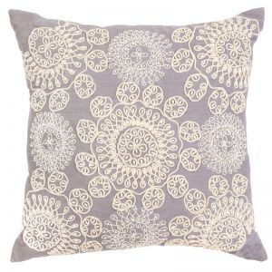 Cotton Embroidered Indoor Cushion | 50x50 cm | Insert Included | Altair Blue