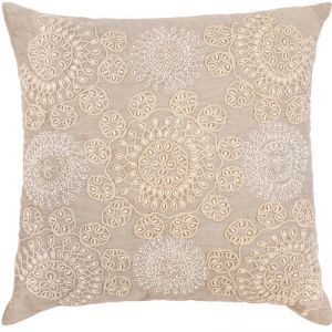 Cotton Embroidered Indoor Cushion | 50x50 CM | Insert Included | Free Shipping | Altair Beige
