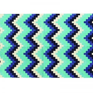 Cotton Runner Pixel Chevron Blue   Rug   by Canvas & Sasson