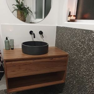 Cove Solid Timber Vanity w/ Cirq Round Concrete Basin