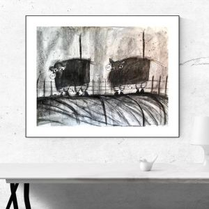 Cows | Original Watercolour Artwork | Charcoal