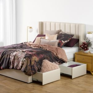 Crete Upholstered Bed Base W/Drawers   Forty Winks