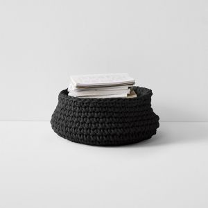 Crochet Basket Large Low | Black by Aura Home