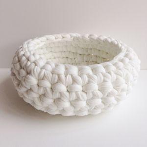 Crochet Bowl Large | Light Grey Pinstripe