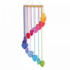 Crochet Heart Mobile | Rainbow