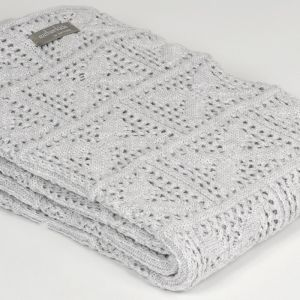 Crochet Knit Blanket | Oyster | Cot