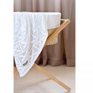 Crochet Knit Blanket | White | Cot