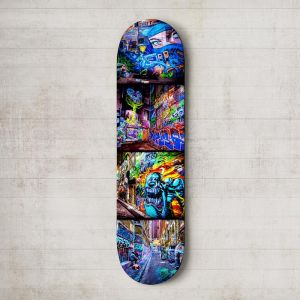 Croft Alley Ninja   Skateboard Deck Wall Art   Street Art Photography   Blue Herring