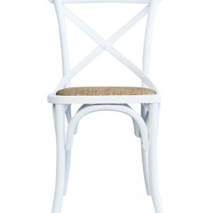 Cross Back Dining Chair | White