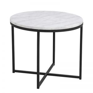Cross Side Table Marble | 55cm | White