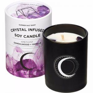 Crystal Infused Soy Candle | Amethyst x Sandalwood & Vanilla