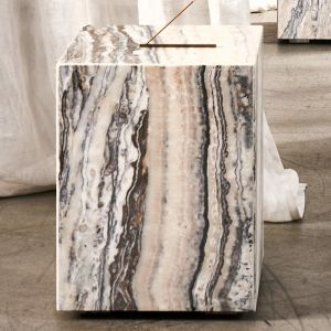 Cube Side Table Small | Beige Onyx Marble | Trit House