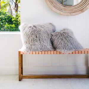 Curly Hair Tibetan Sheepskin Cushion Grey | 50x50cm