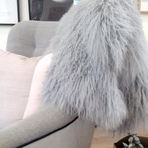 Curly Hair Tibetan Sheepskin | Light Grey