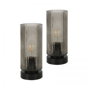 Curtis 1 Light Touch Table Lamp in Black with Smoke Glass with USB, 2 Pack   Beacon Lighting