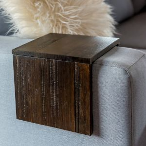 Custom Couch/Sofa Arm Table | Upcycled Tasmanian Oak | Black Japan Stain